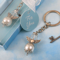 Elegant Angel Pearl & Crystal Themed Key Ring